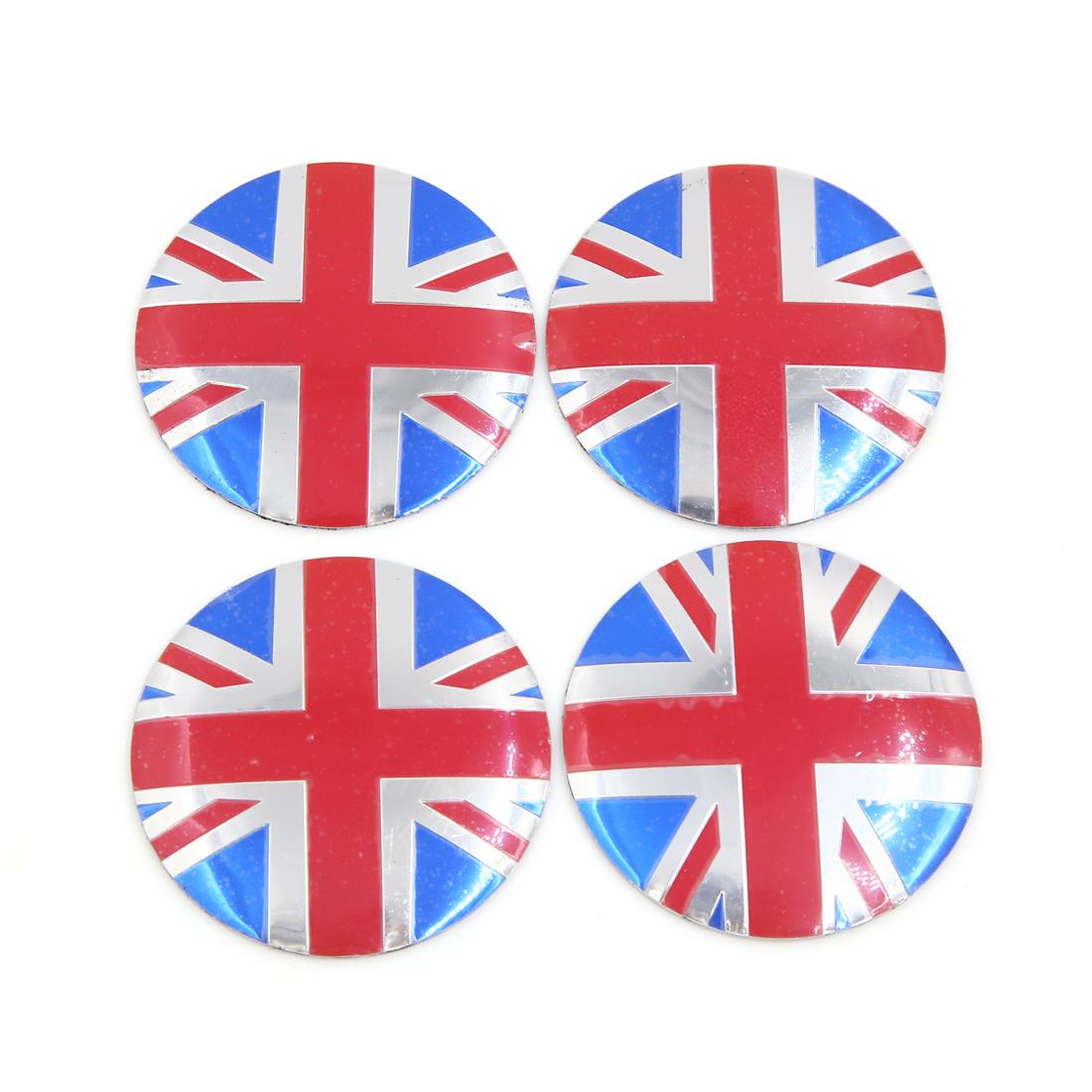 4Pcs 56mm Diameter UK Flag Pattern Car Vehicle Wheel Hub Sticker Protector