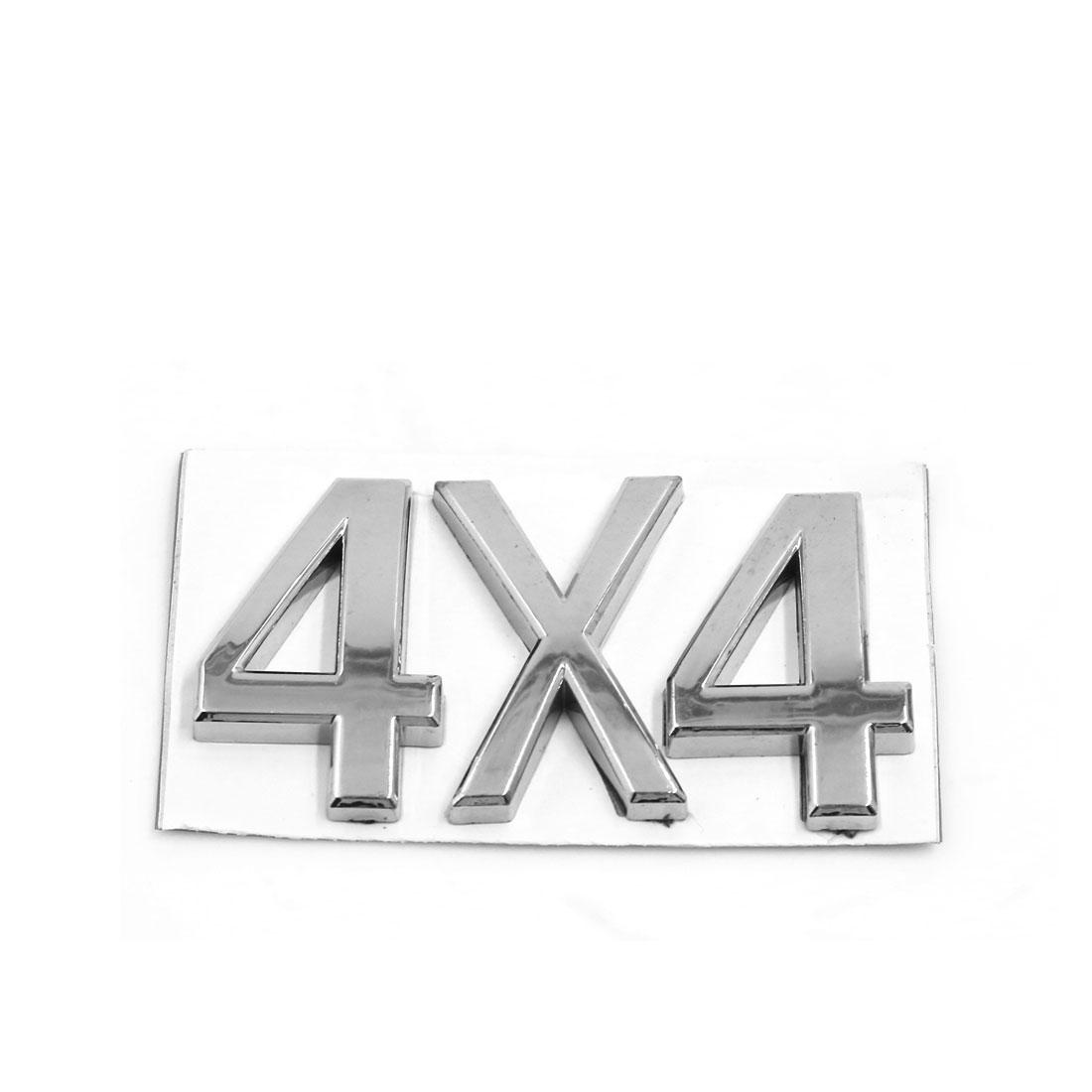 Silver Tone Plastic 4X4 Design Grille Emblem Badge Decoration for Car Auto