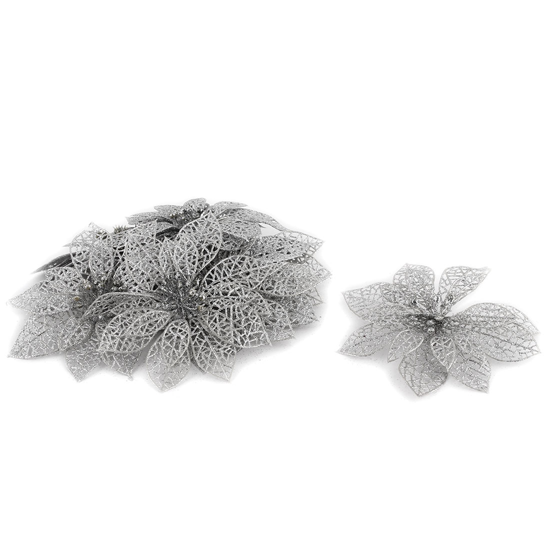 Festival Christmas Tree Artificial Glitter Hanging Flower Silver Tone 10 PCS