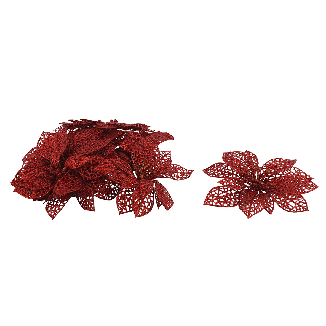 Festival Christmas Tree Artificial Glitter Hanging Wreaths Flower Red 10 PCS