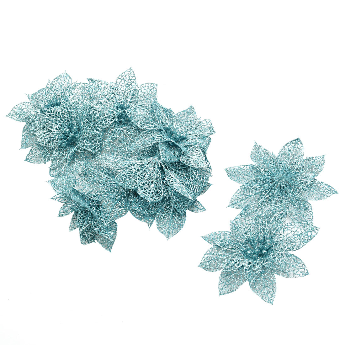 Party Christmas Tree Artificial Glitter Hanging Ornaments Flower Blue 10 PCS