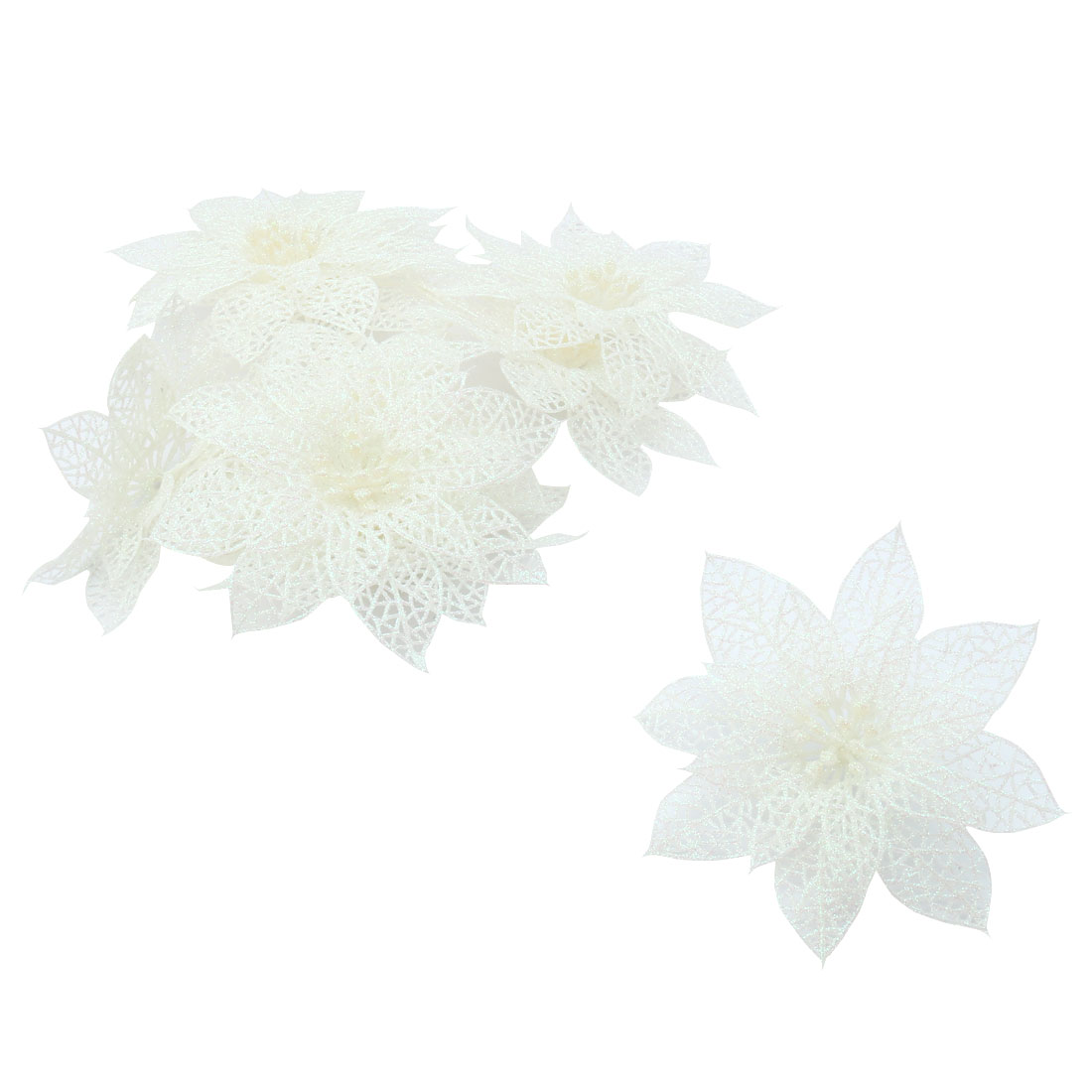 Festival Christmas Artificial Glitter Hanging Ornaments Flower White 10 PCS