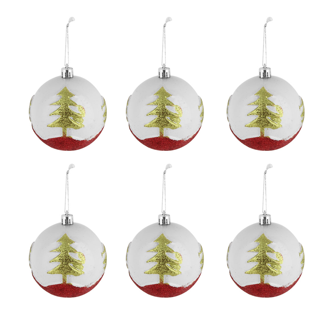 Wedding Christmas Party Tree Pattern Flickering Collectible Hanging Baubles Ball 6 PCS