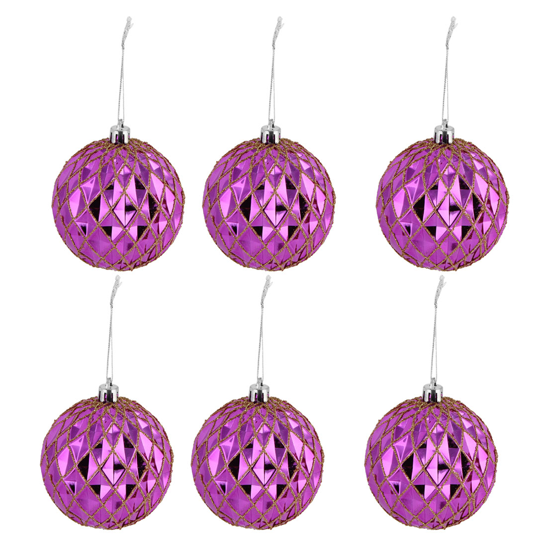 Christmas Party Artificial Collection Flicker Hanging Ball Fuchsia 6 PCS
