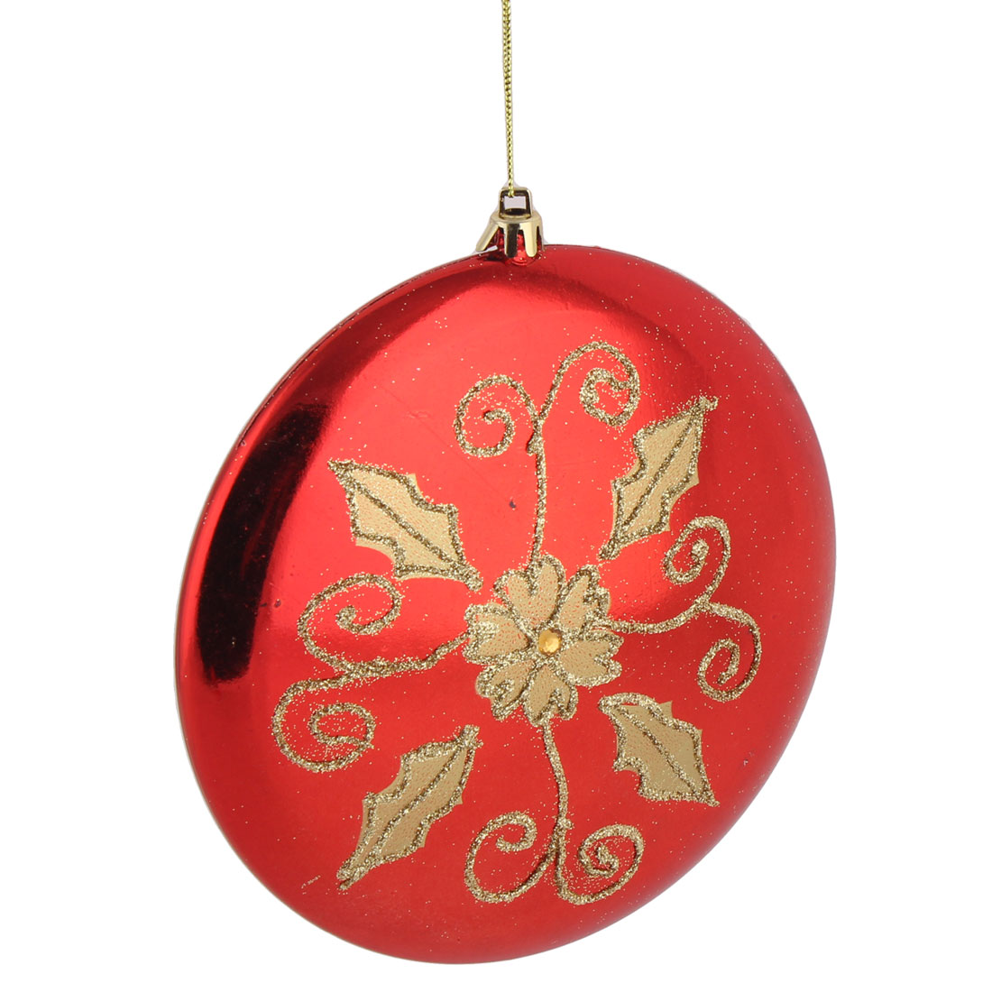 Festival Christmas Tree Plastic Flower Pattern Artificial Adornments Flat Ball