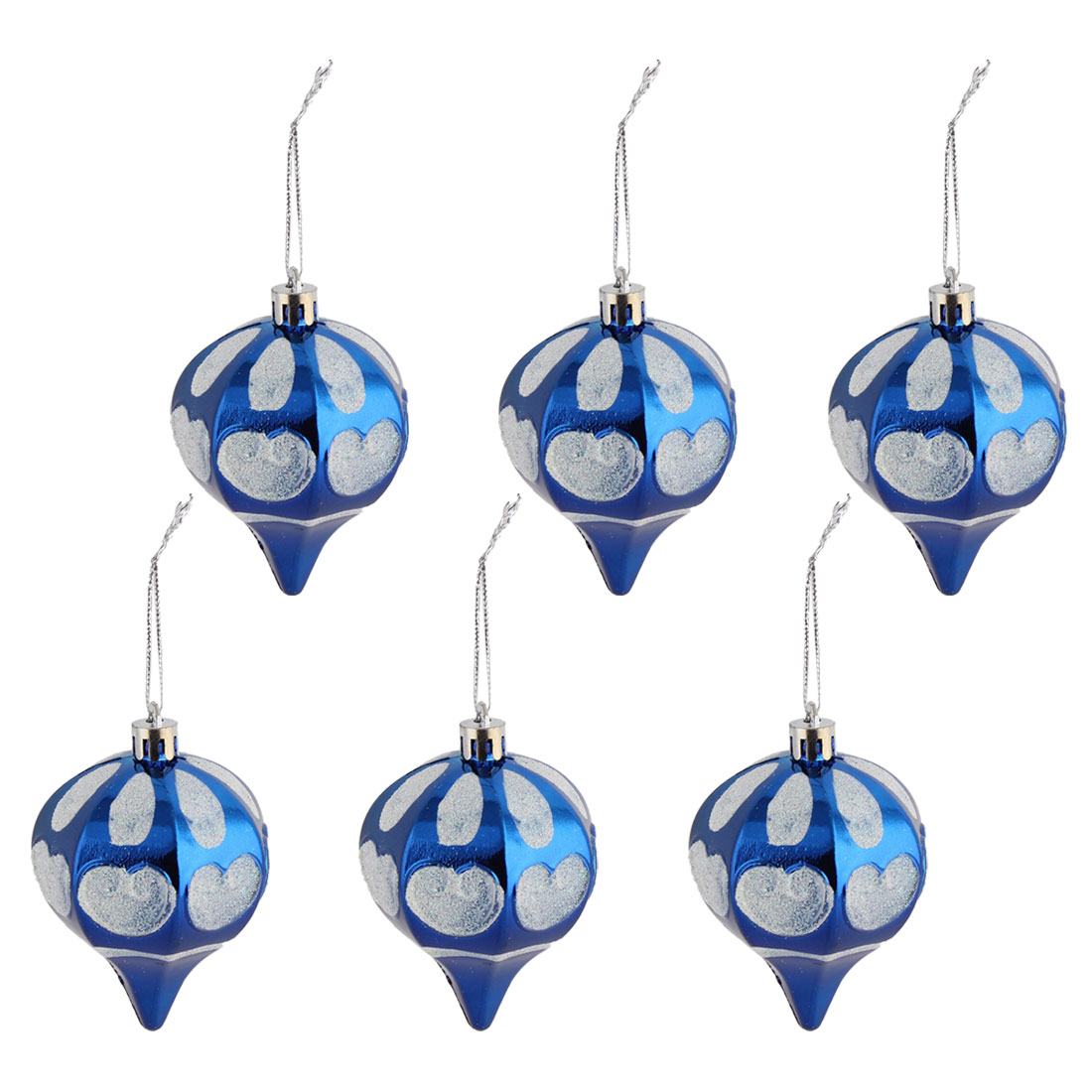 Home Christmas Artificial Collectible Decorations Hanging Baubles Ball Royal Blue 6 PCS