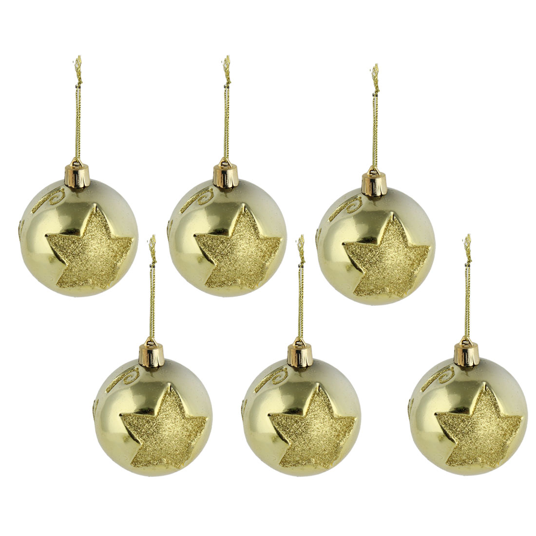 Party Christmas Star Pattern Artificial Collection Festive Ball Gold Tone 6 PCS