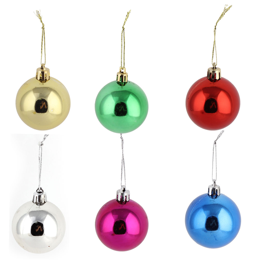 Household Christmas Tree Plastic Reflective Artificial Adornments Ball 6 PCS