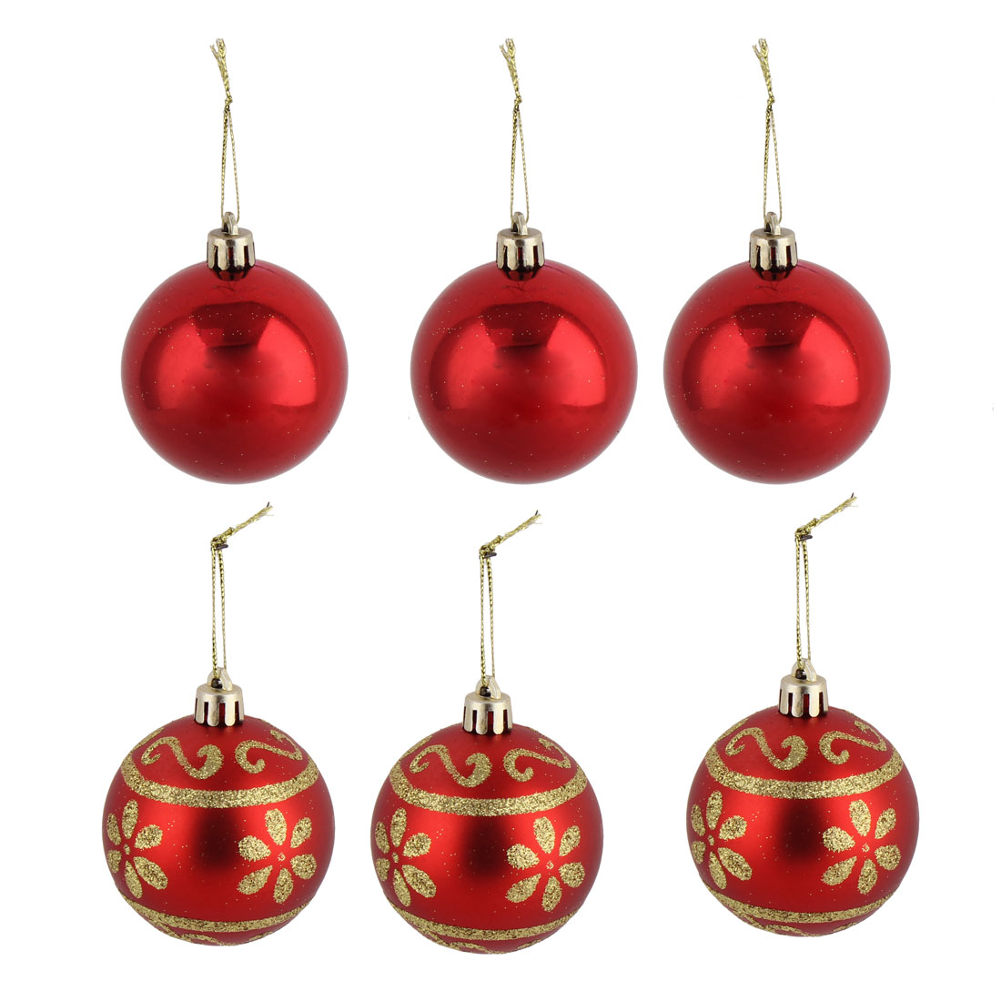 Party Christmas Tree Flower Pattern Artificial Collection Festive Hanging Ball 6 PCS