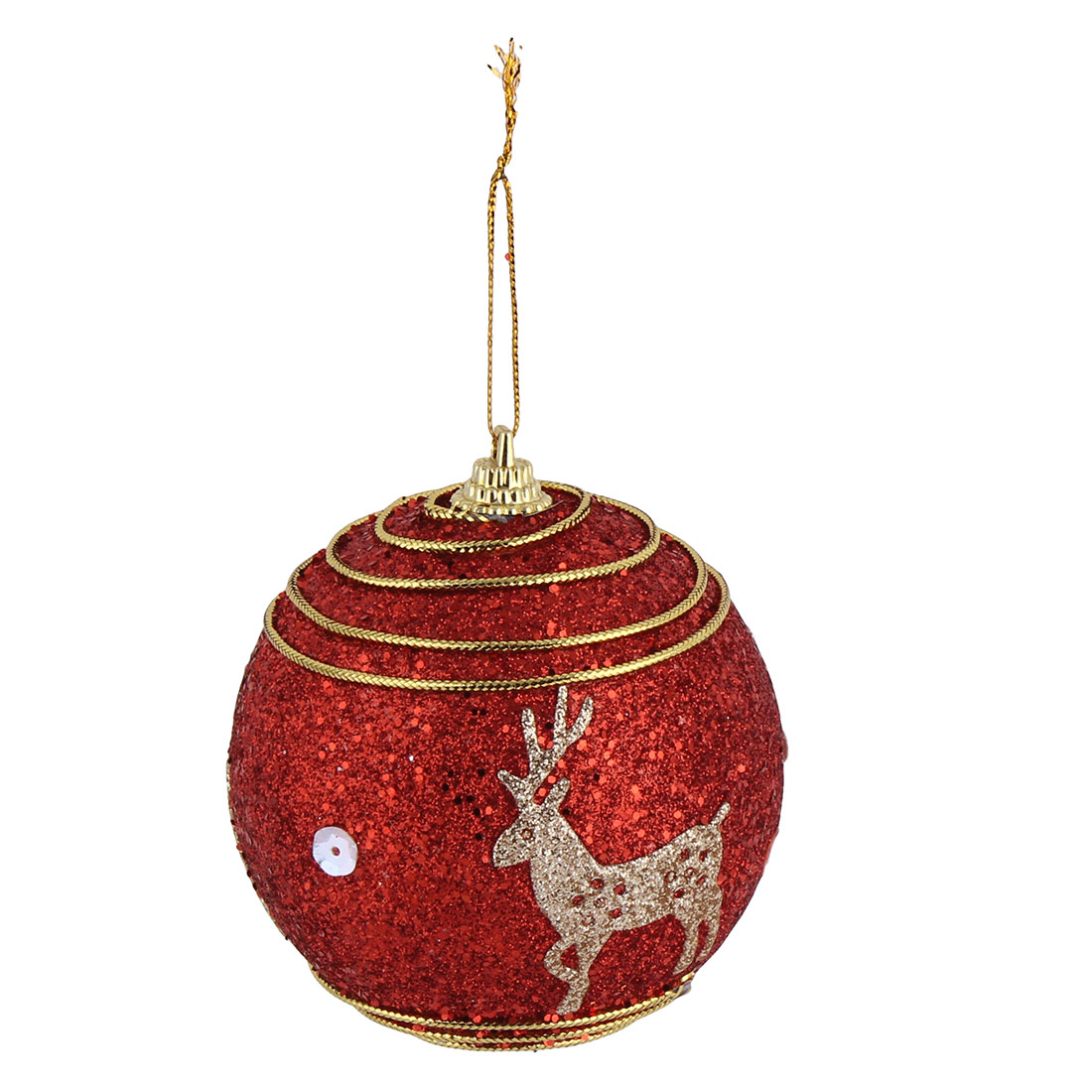 Home Christmas Party Deer Pattern Artificial Collectible Hanging Baubles Ball