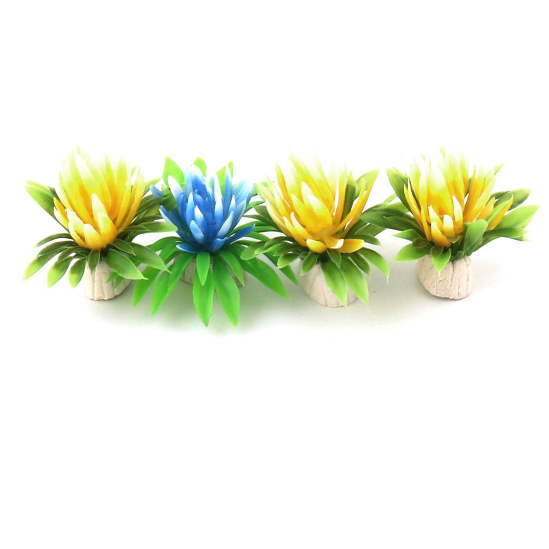 Aquarium Fish Tank Plastic Artificial Decor Imitation Plants Assorted Color 4pcs