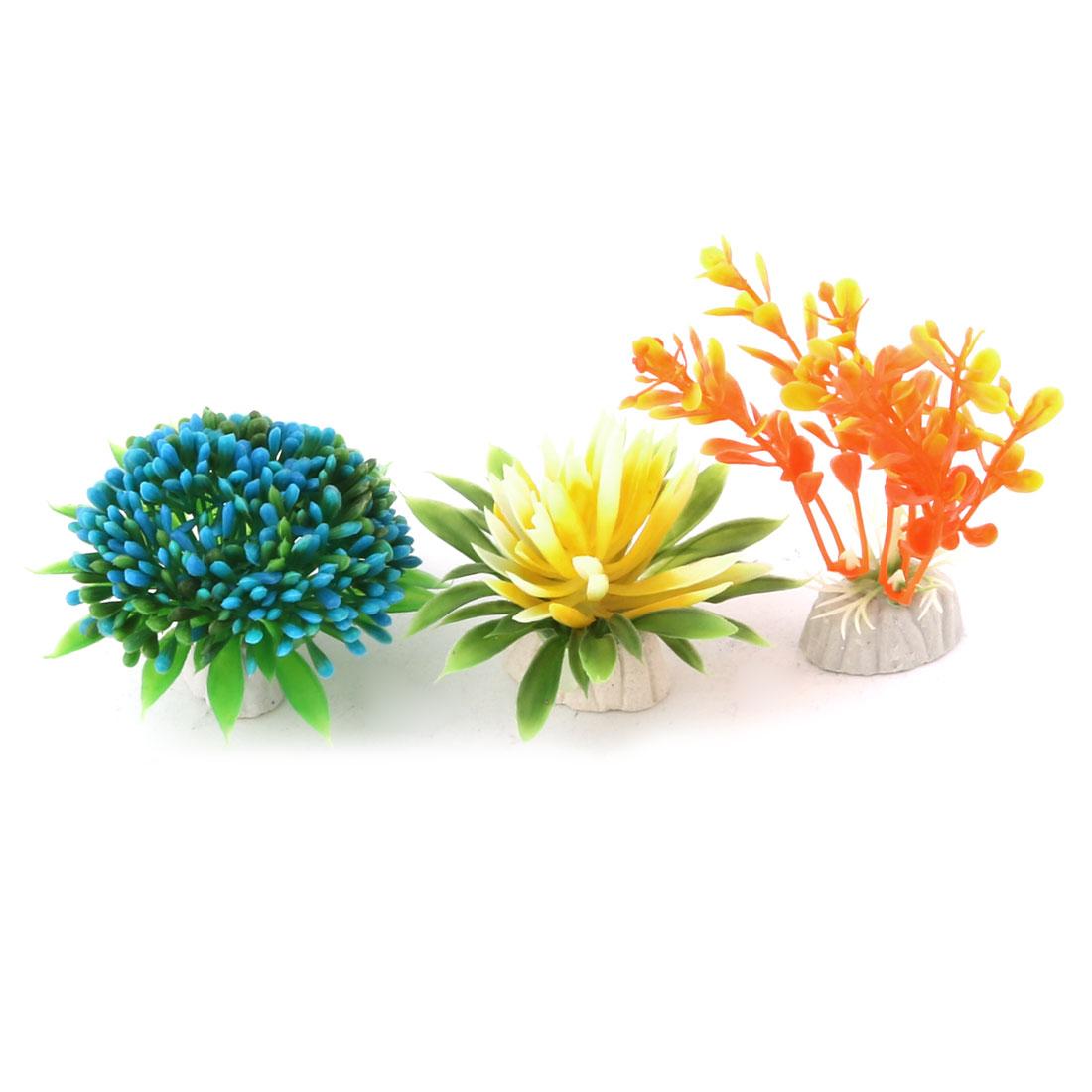 Aquarium Fish Tank Plastic Artificial Decor Emulation Plants Assorted Color 3 in 1