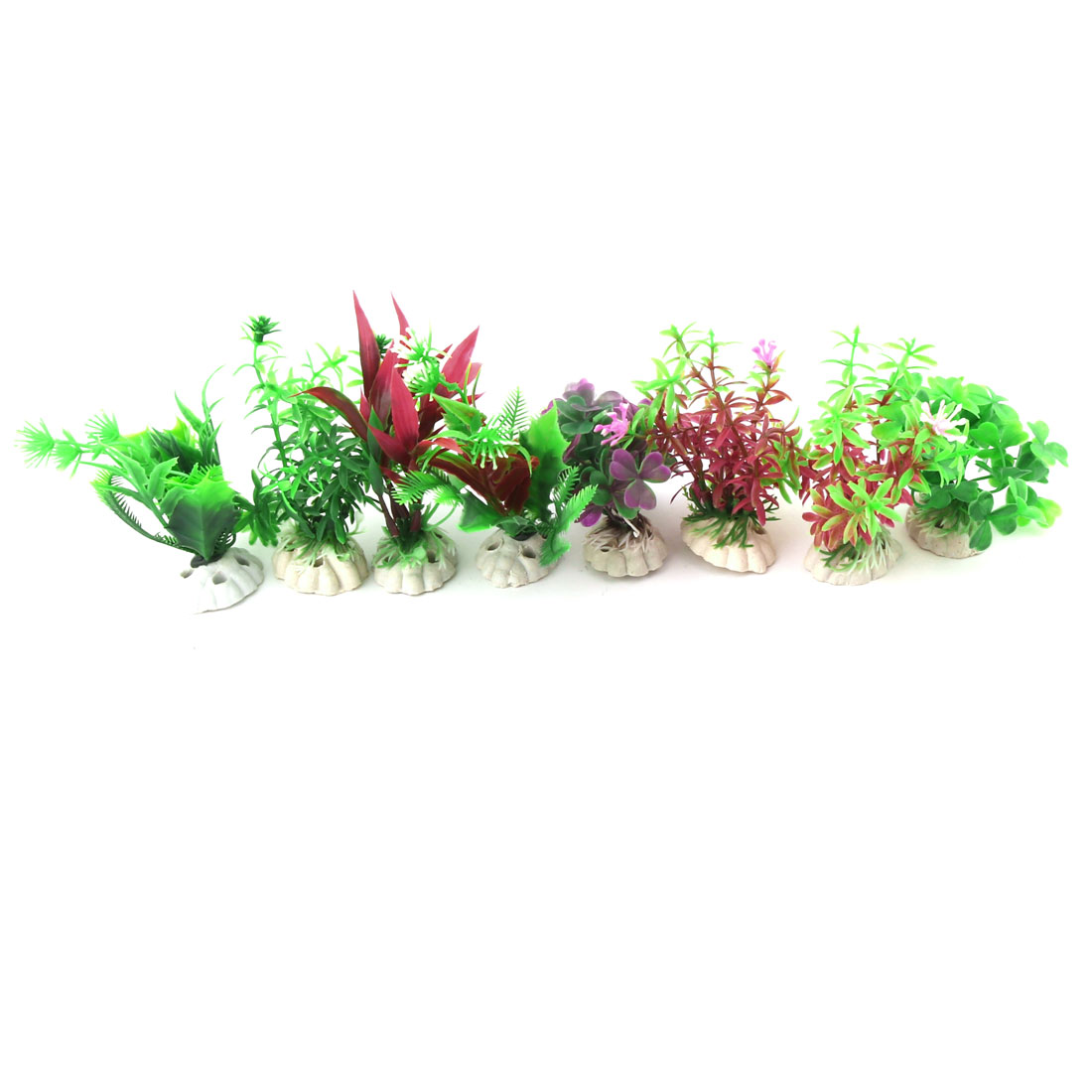 Aquarium Fish Tank Plastic Artificial Ornament Imitation Plants Grass Assorted Color 8 in 1