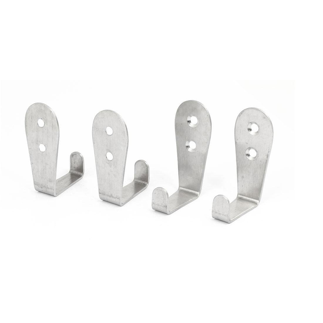 Bathroom Wall Door Coat Cap Stainless Steel 7 Shape Hanger Hook 2mm Thick 4pcs
