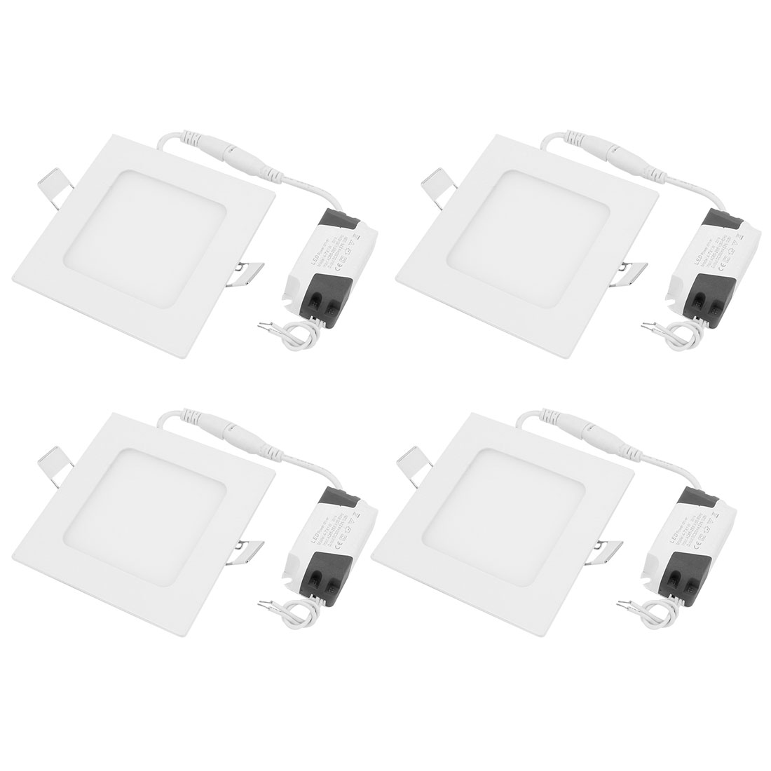 4Pcs AC85V-265V 4W Ultra Slim Square LED Recessed Ceiling Panel Light Lamp White