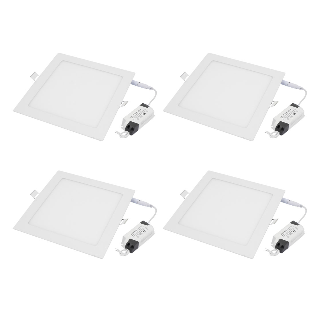 4Pcs AC85V-265V 18W Ultra Slim Square LED Recessed Ceiling Panel Light Lamp White