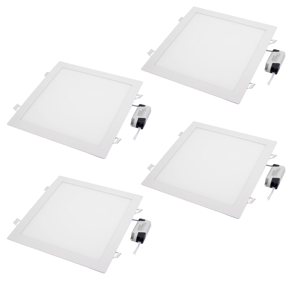 4Pcs AC85V-265V 24W Ultra Slim Square LED Recessed Ceiling Panel Light Lamp White