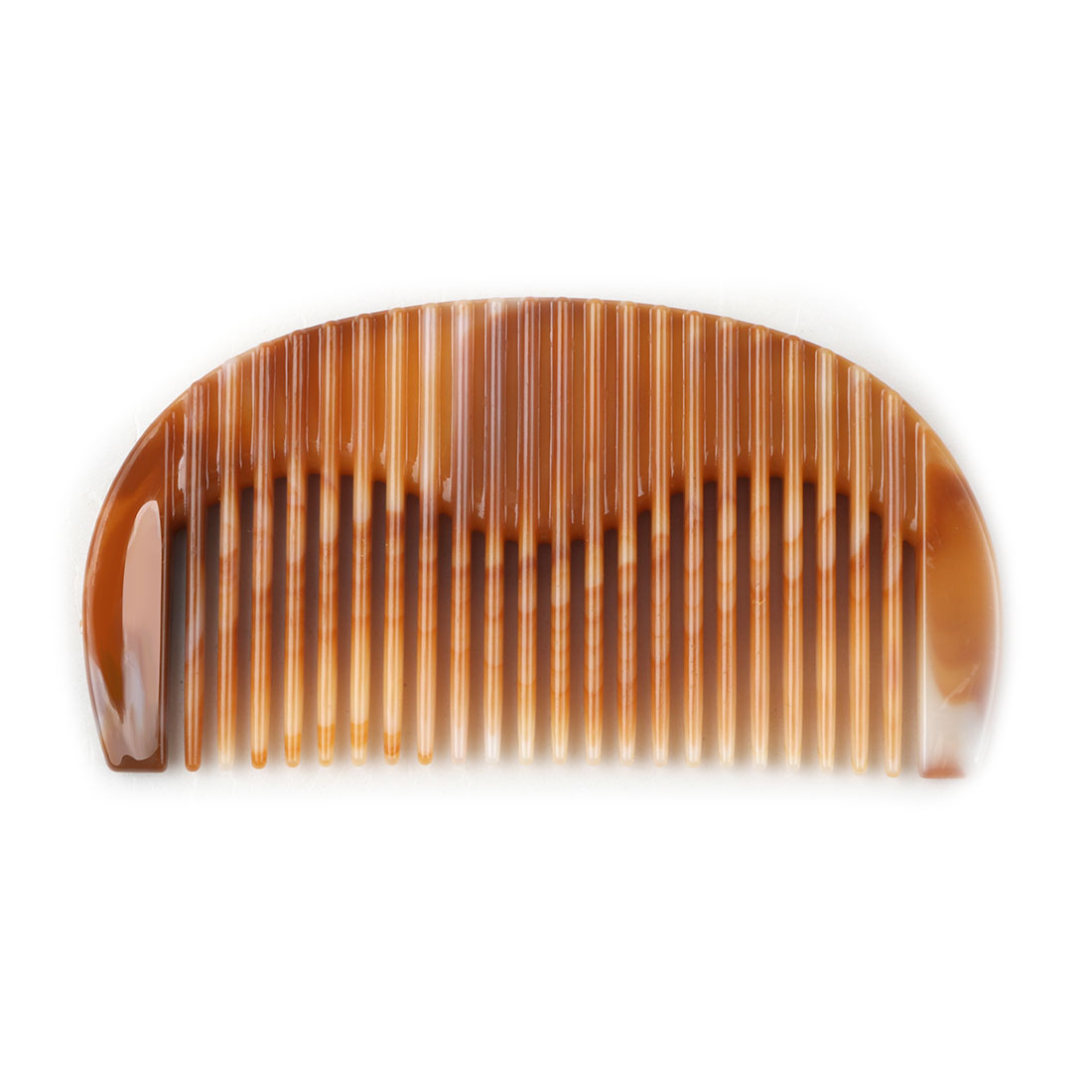 Ladies Faux Jade Tooth Designed Portable Hairstyle Comb Brown 11cm Length