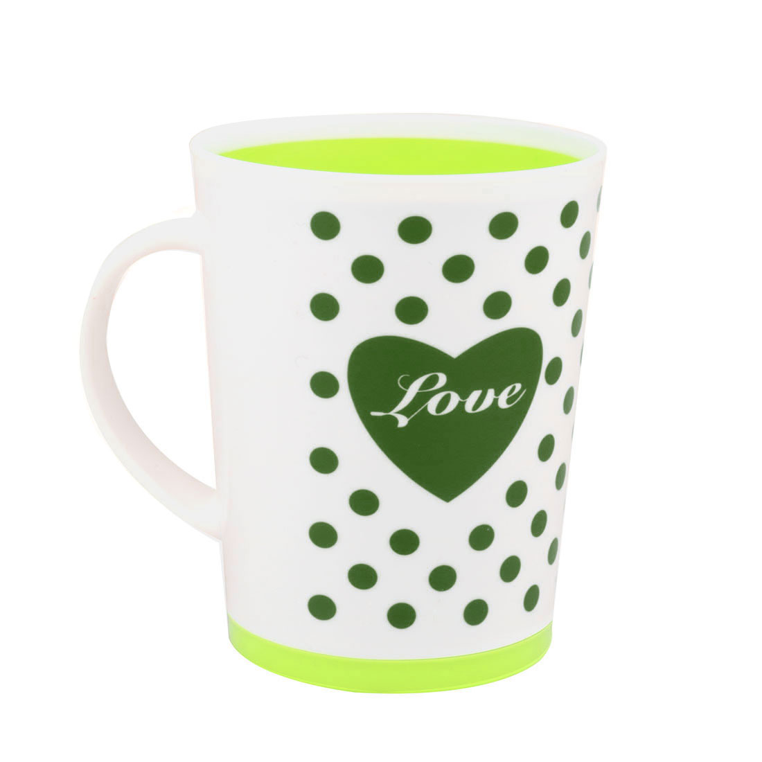 Home Hotel Plastic Heart Dot Pattern Water Bottle Gargle Brushing Cup Toothbrush Holder Light Green