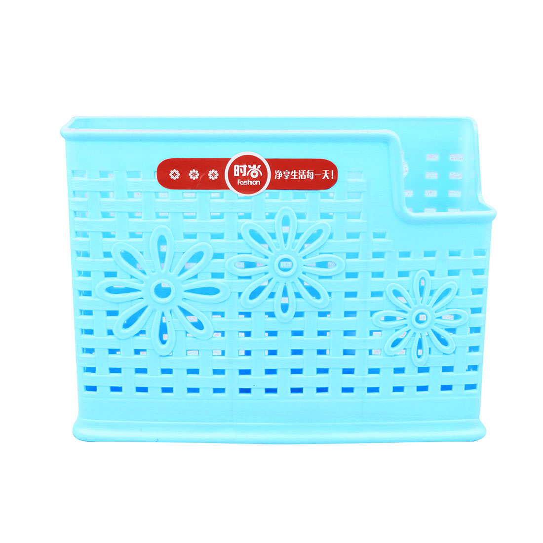 Kitchen Plastic Rectangle Design 3 Compartments Chopsticks Organizer Basket Holder Blue