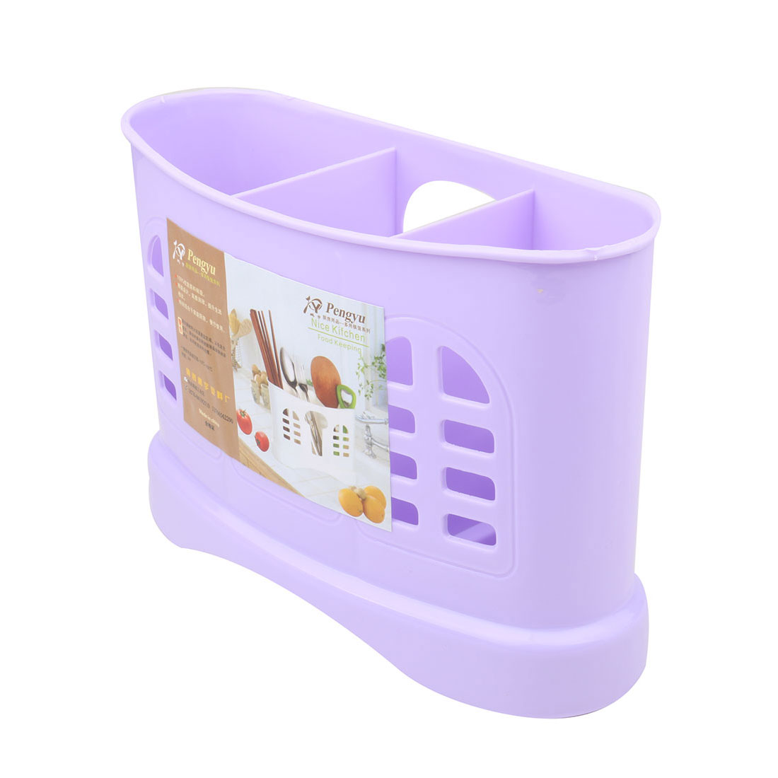 Home Plastic Hollow Out 3 Compartments Chopsticks Organizer Storage Holder Case Light Purple