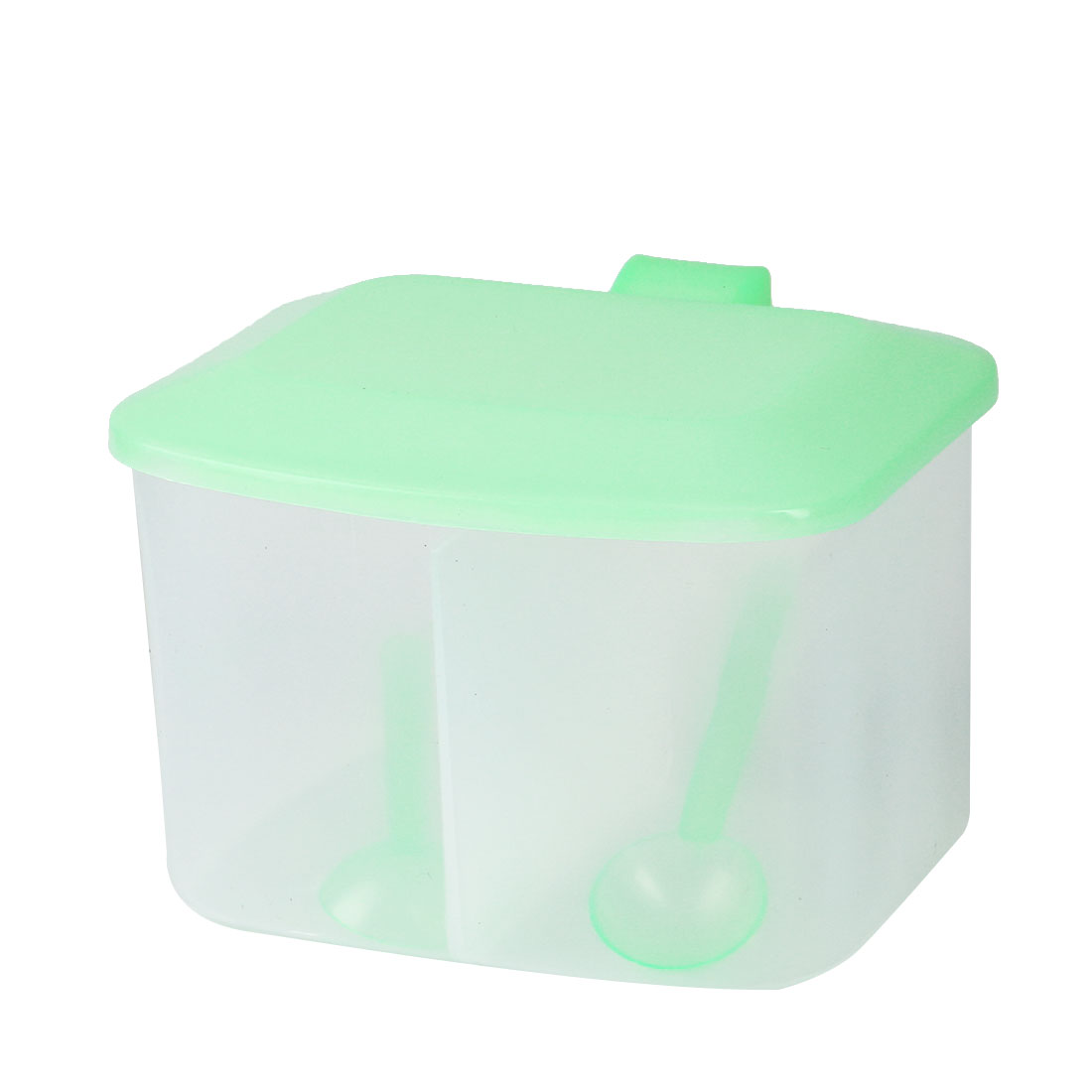 Household Kitchen Plastic Rectangular Single Compartment Salt Seasoning Box Green