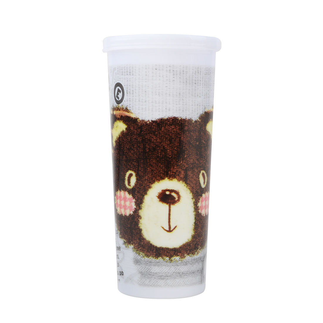 Outdoor Picnics Plastic Bear Printed Cylinder Shaped Water Tea Drinking Cup
