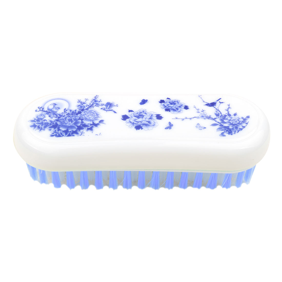 Household Plastic Floral Pattern Oval Shaped Shoes Clothes Scrubbing Brush Blue