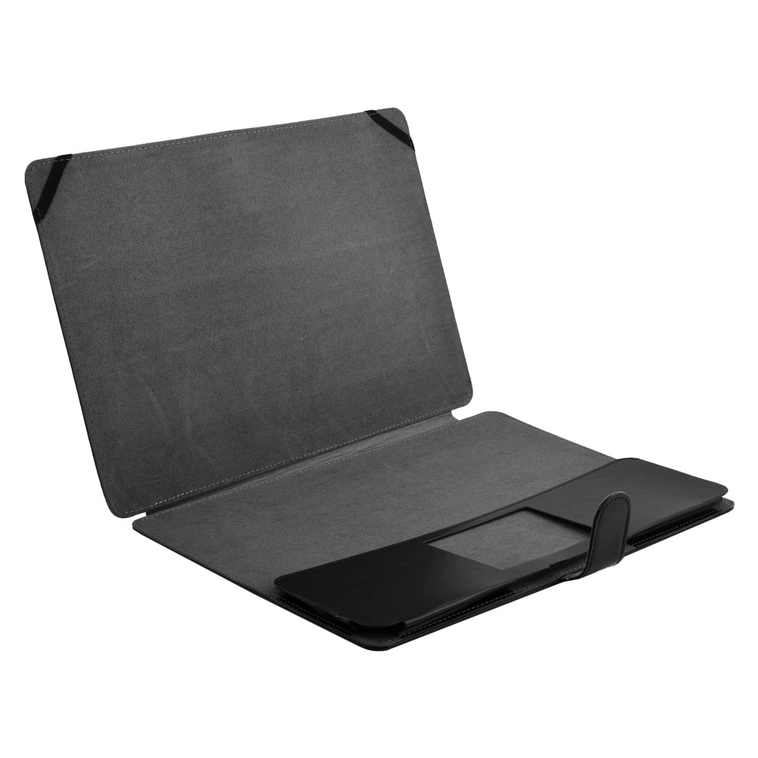 Office PU Leather Screen Skin Folio Laptop Sleeve Case Black for MacBook Pro 15.4 Inch