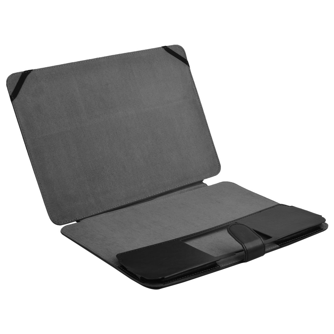 Laptop PU Leather Folio Sleeve Bag Filp Skin Case Black for MacBook Pro 13.3 Inch