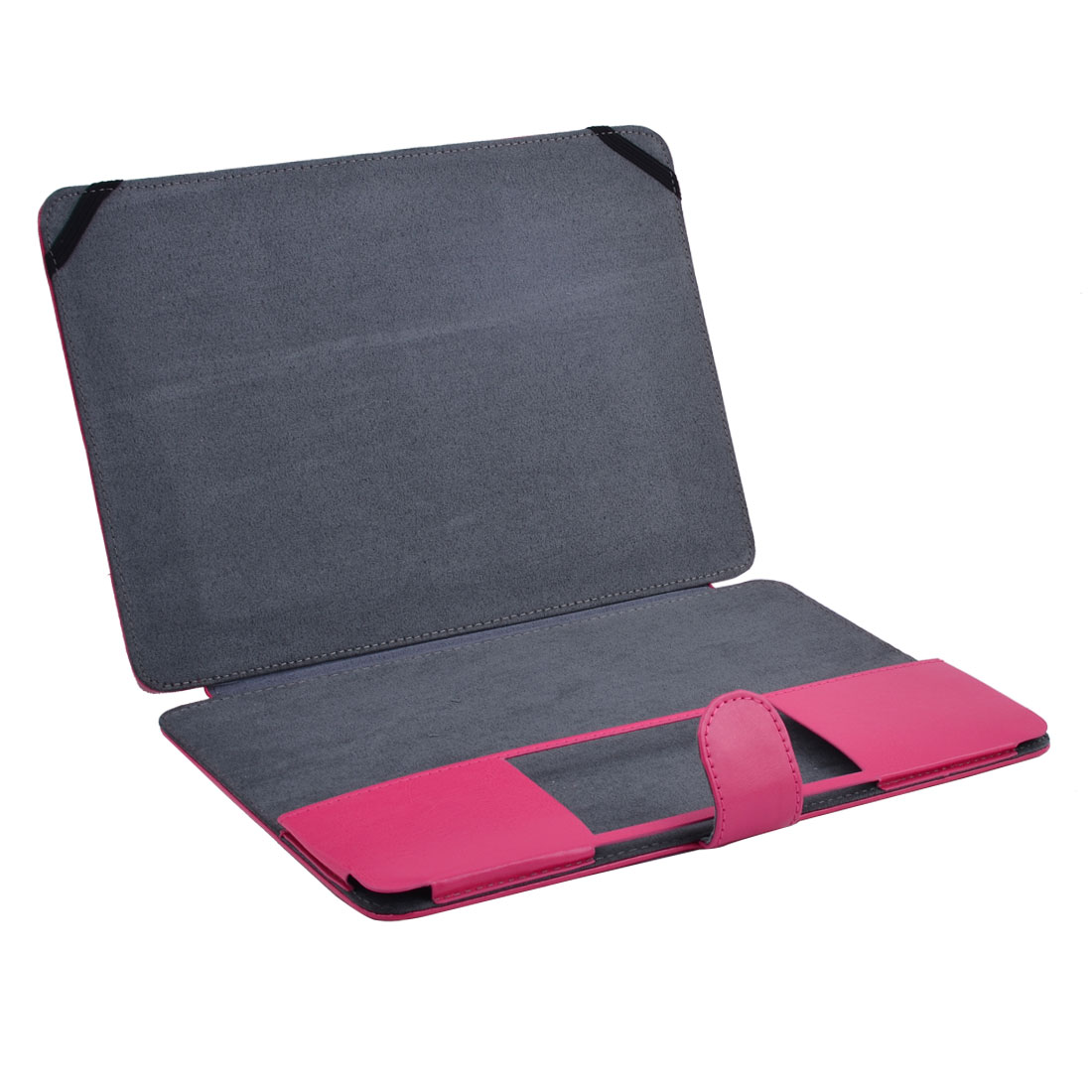 Laptop PU Leather Clip On Sleeve Case Book Magenta for Macbook Retina 12 Inch