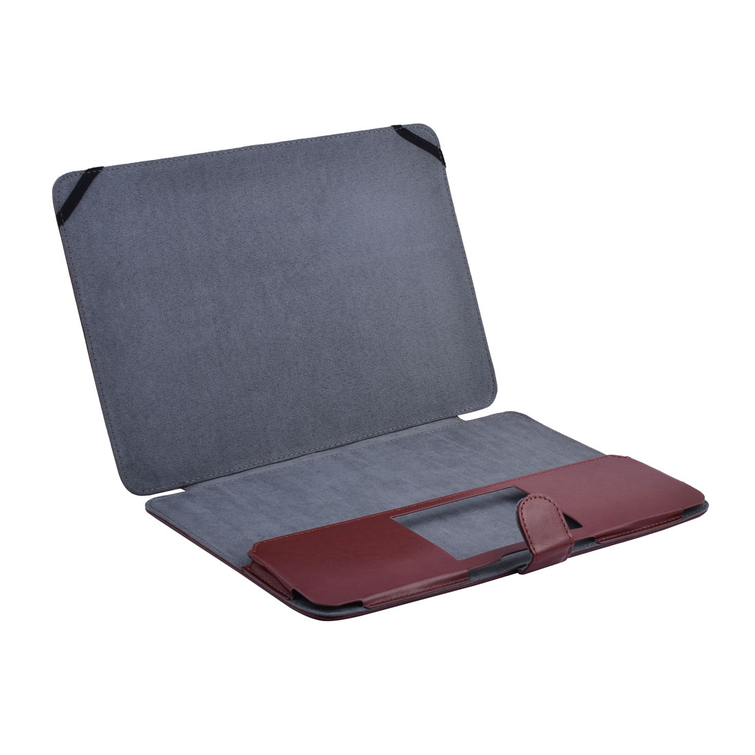 Laptop PU Leather Clip On Sleeve Book Cover Carmine for Macbook Air 11.6 Inch