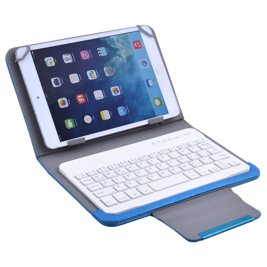 PU Leather Wireless Keyboard Leather Cover Case Blue for 7 Inch 8 Inch Tablet