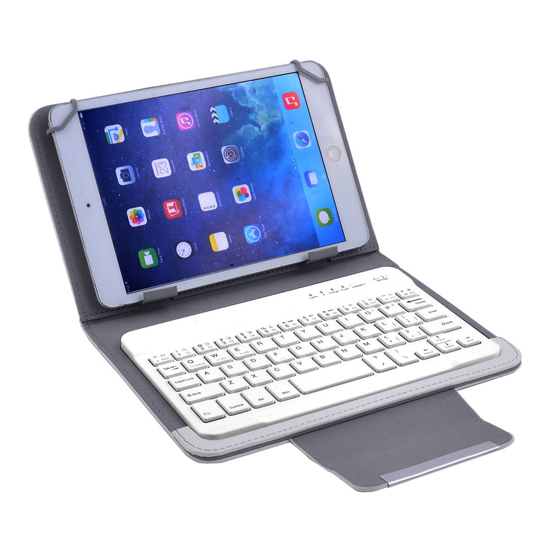 bluetooth Keyboard Leather Cover White w Stand for 7 Inch 8 Inch Tablet