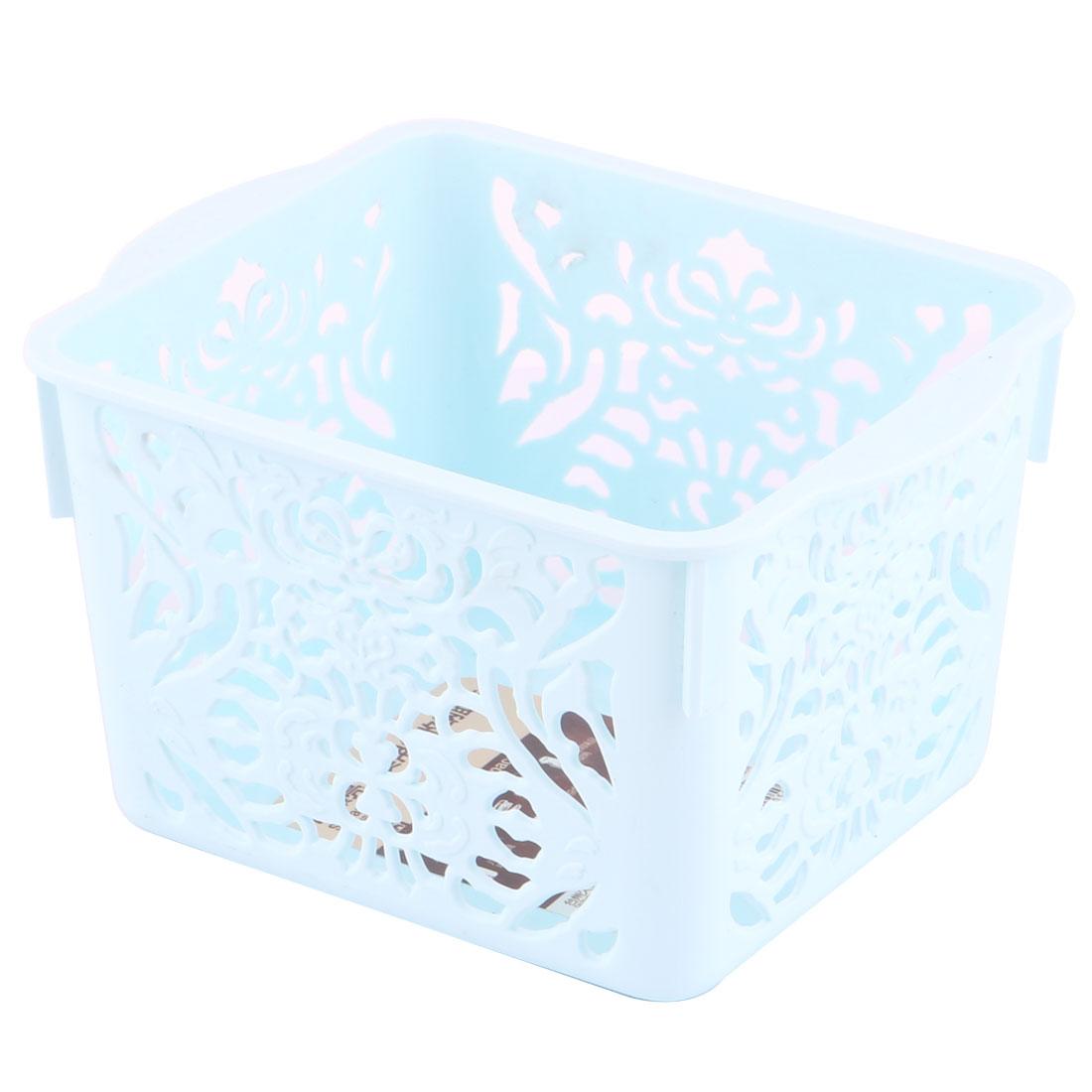 Bathroom Plastic Flower Pattern Sundries Storage Holder Organizer Basket Blue