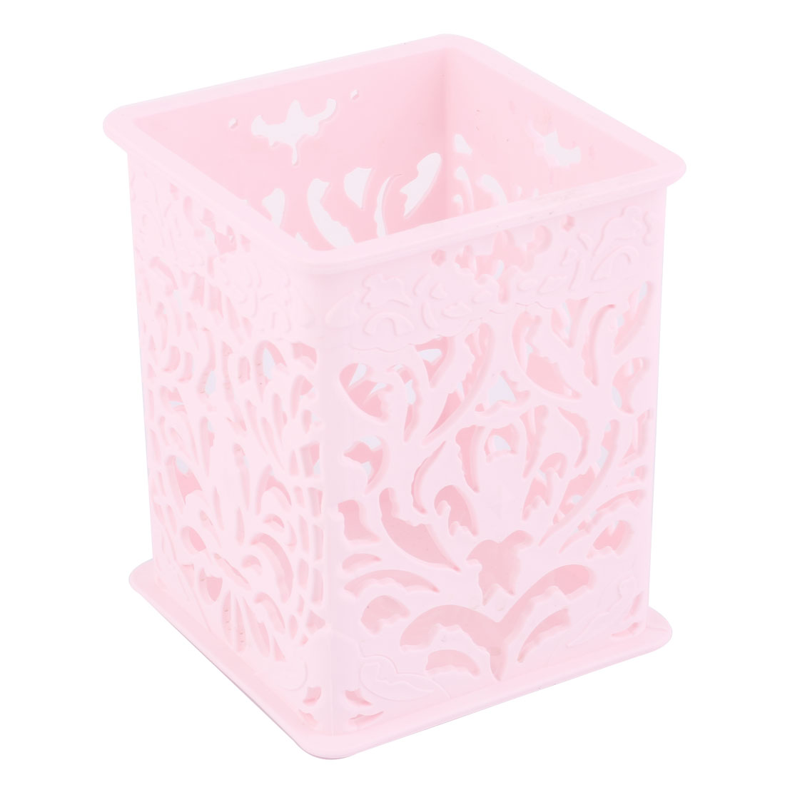 Office Plastic Flower Pattern Rectangle Design Storage Holder Basket Container