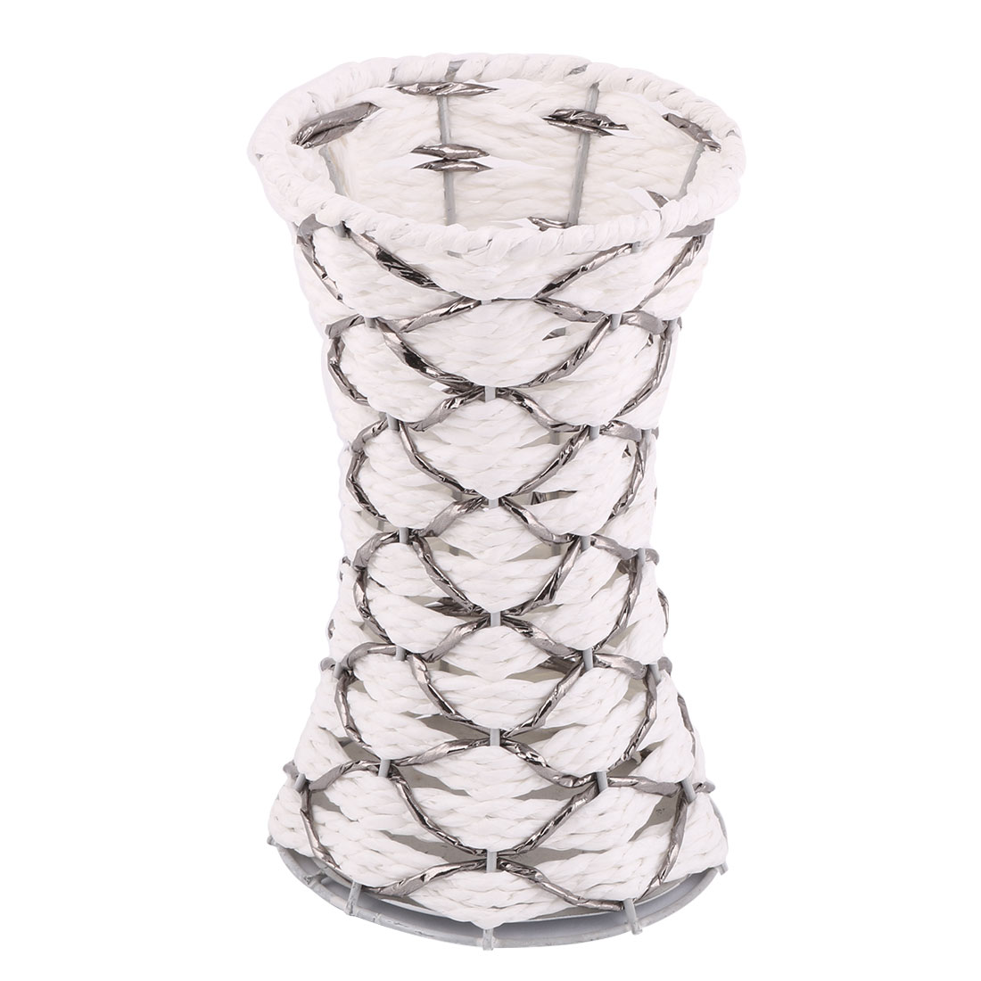 Party Wedding Metal Frame Artificial Weave Craft Decoration Flower Vase Basket White