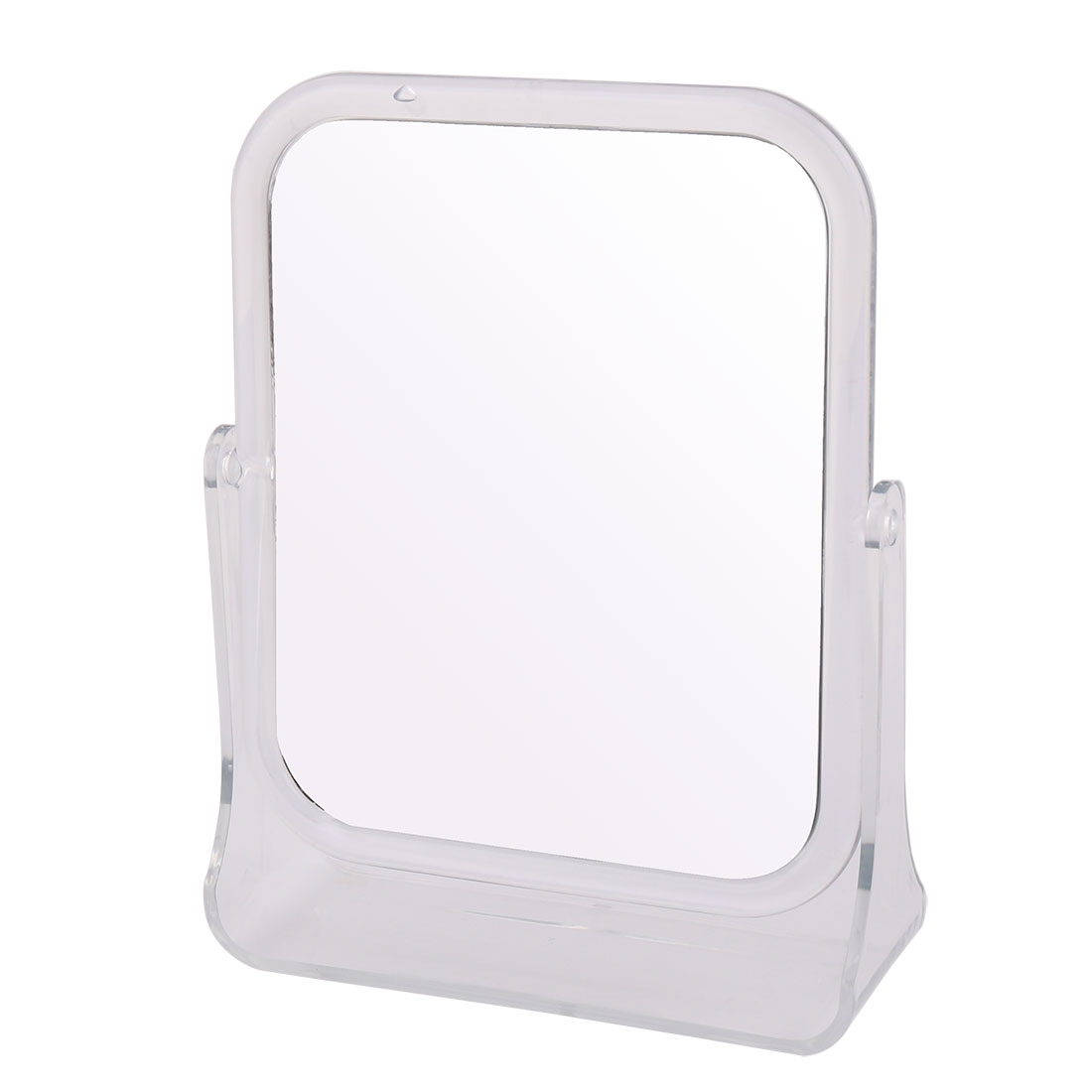 Women Lady Plastic Double Side Square Shaped Portable Makeup Cosmetic Present Mirror Clear