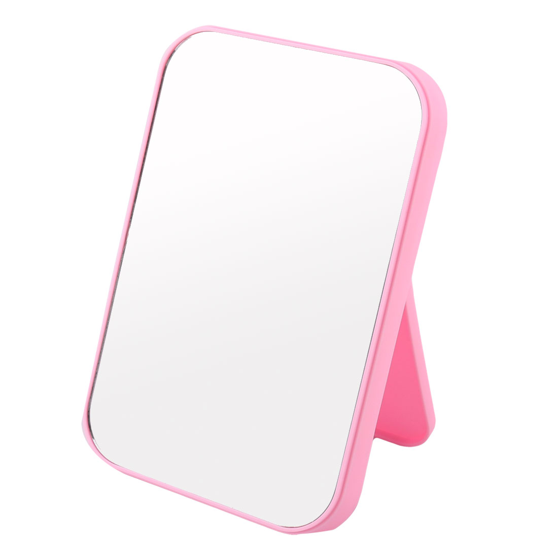 Women Lady Plastic Square Shaped Folding Portable Makeup Dress Up Cosmetic Mirror Pink