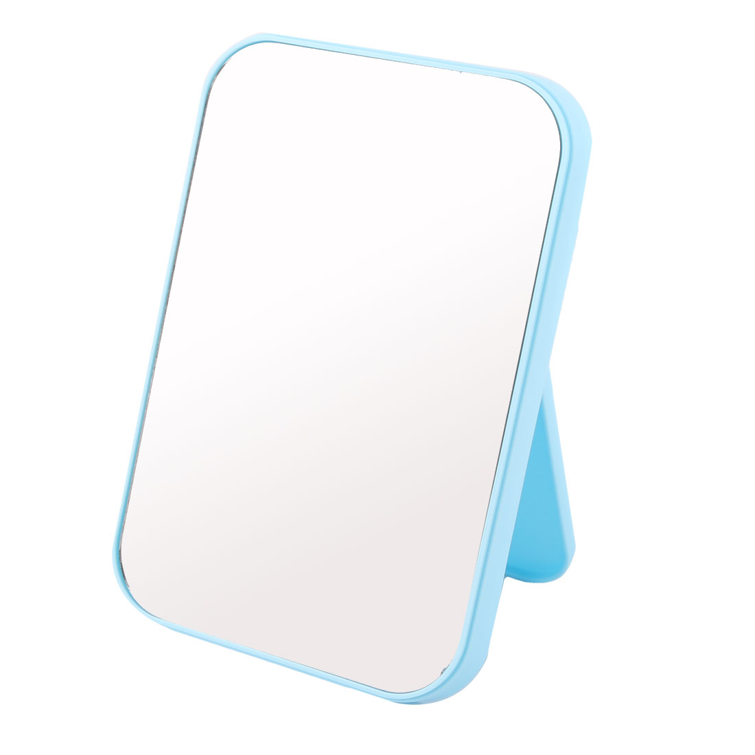Women Lady Plastic Square Shaped Folding Portable Makeup Dress Up Cosmetic Mirror Blue