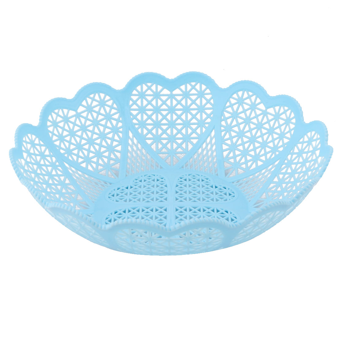 Home Kitchen Plastic Hollow Out Wavy Edge Design Fruit Vegetable Storage Basket Tray Blue