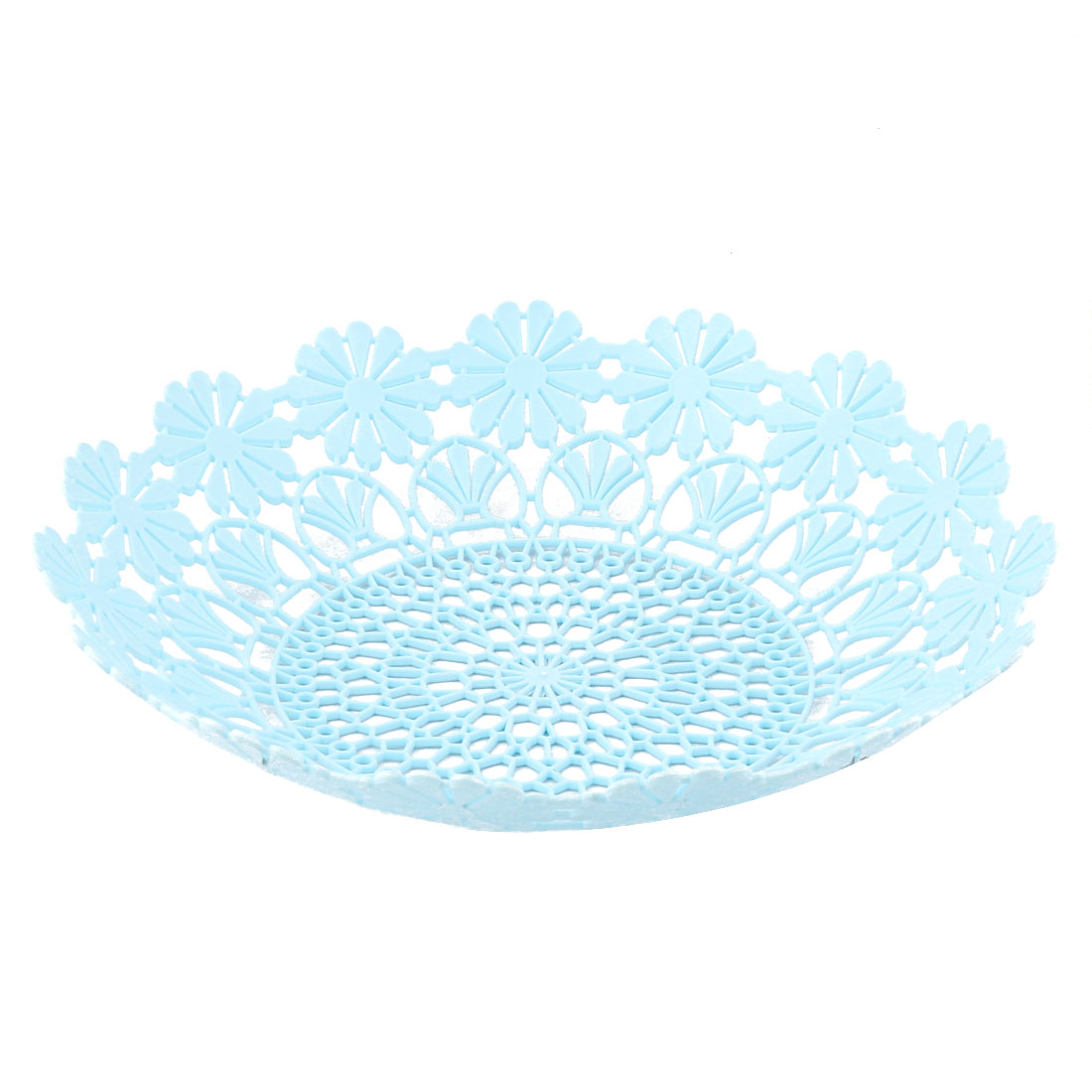 Home Kitchen Plastic Hollow Out Flower Edge Design Fruit Basket Plate Tray Blue