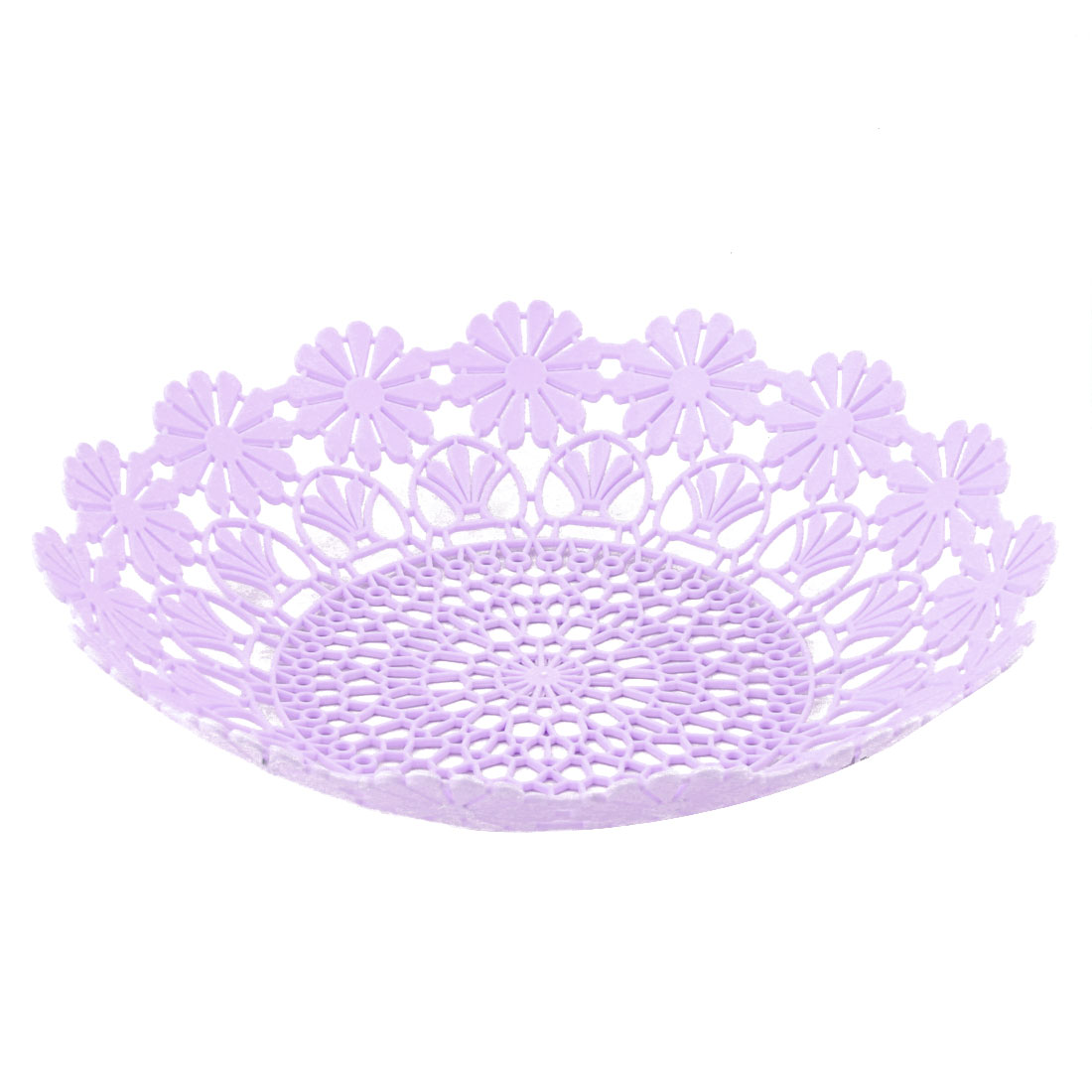 Home Kitchen Plastic Hollow Out Flower Edge Design Fruit Vegetable Basket Plate Tray Light Purple