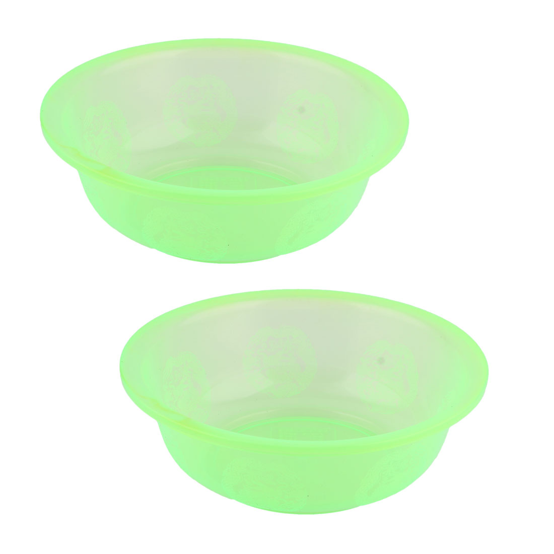 Household Kitchenware Plastic Round Food Fruit Salad Wash Basin Light Green 2 Pcs
