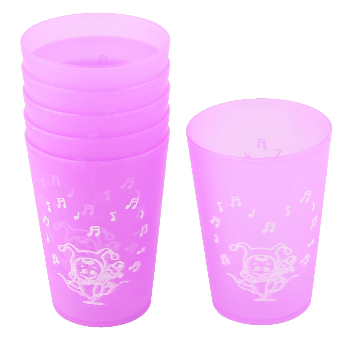 Home Office Plastic Fruits Pattern Water Milk Juice Drinking Storage Container Cup Light Purple 10pcs