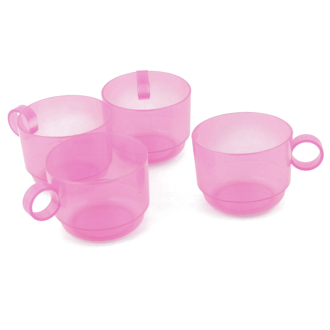 Home Cafe Plastic Circle Handle Portable Water Tea Milk Coffee Storage Drinking Cup Mug Pink 4pcs