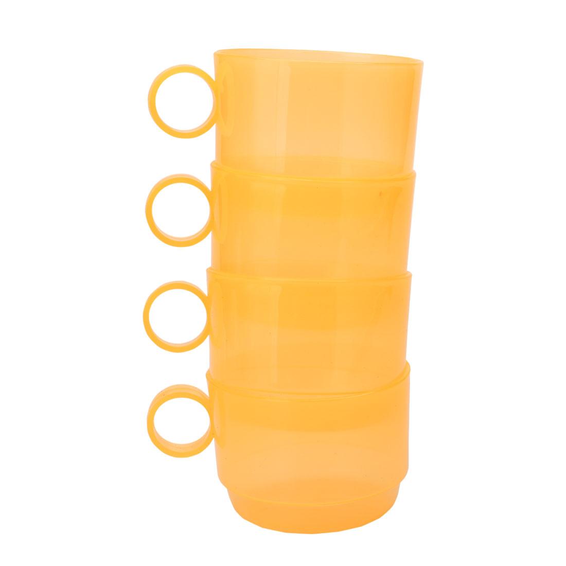 Home Cafe Plastic Circle Handle Portable Water Tea Milk Coffee Storage Drinking Cup Mug Yellow 4pcs