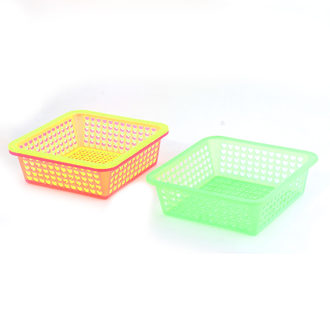Kitchenware Plastic Square Fruit Vegetable Washing Basket Holder 18 x 18cm 3 Pcs