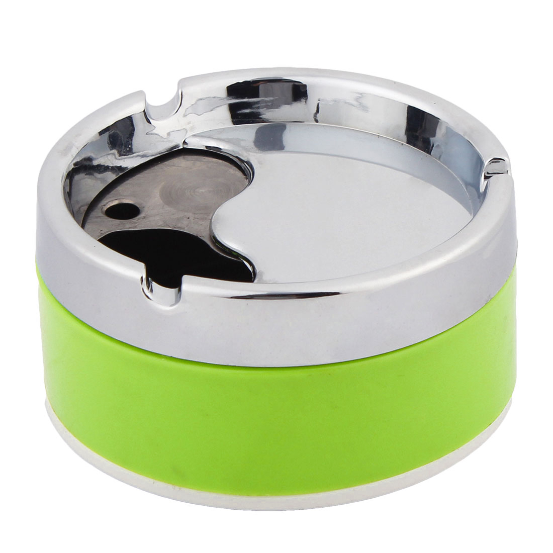 Household Cylinder Shape Closeable Ashtray Cigarette Holder Silver Tone Green