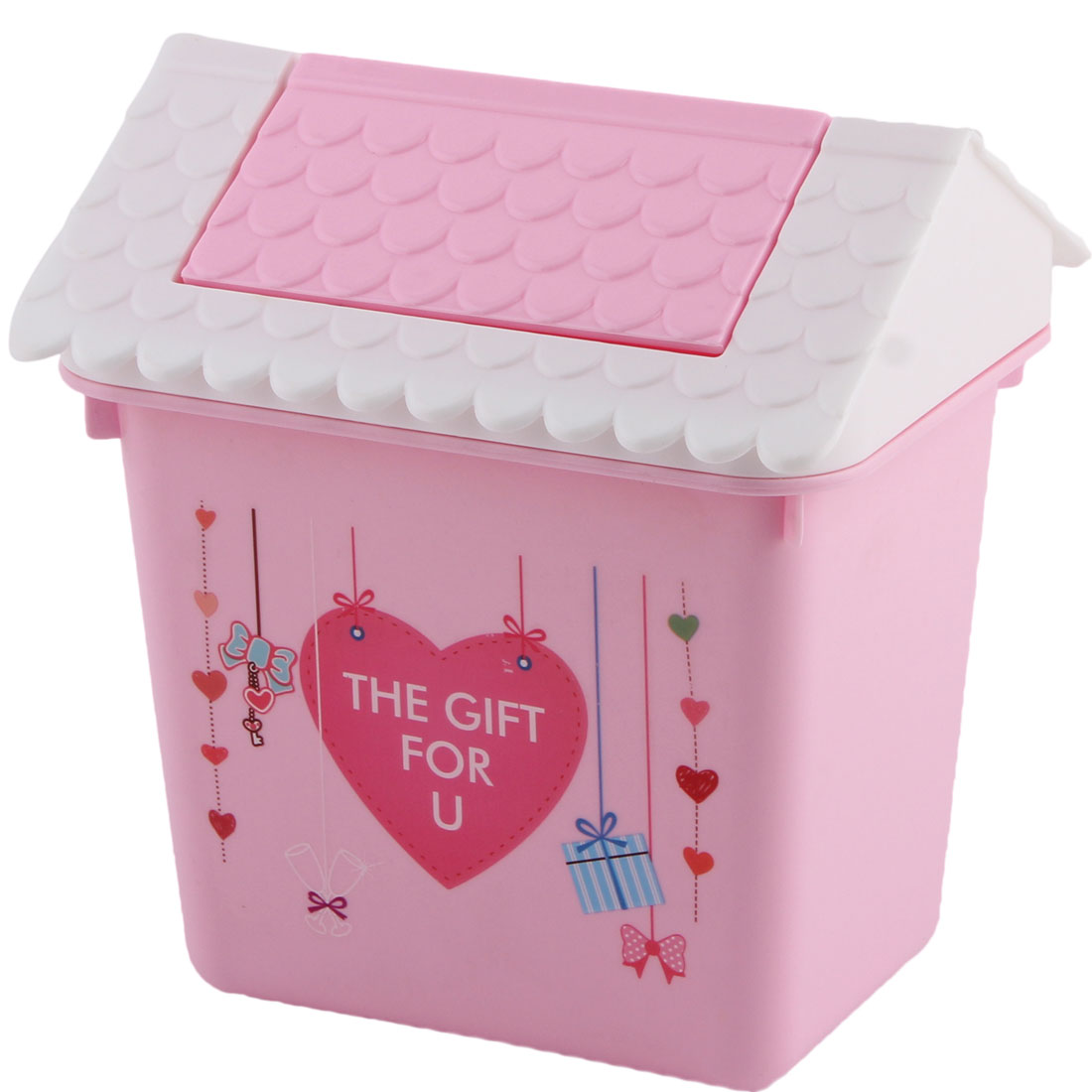 Home Office Plastic House Shaped Heart Pattern Trash Garbage Rubbish Bin Pink
